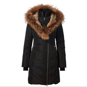 MACKAGE TRISH DOWN COAT WITH FUR HOOD 3/4 LENGTH